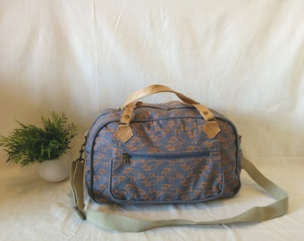 Travel bag,handmade, cotton canvas and leather bag, original bag, gift, gift for him and her, original gift, pattern bag,