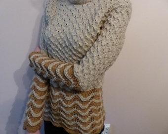 Pullover Handmade Knit Knitwear Long sleeves Beige