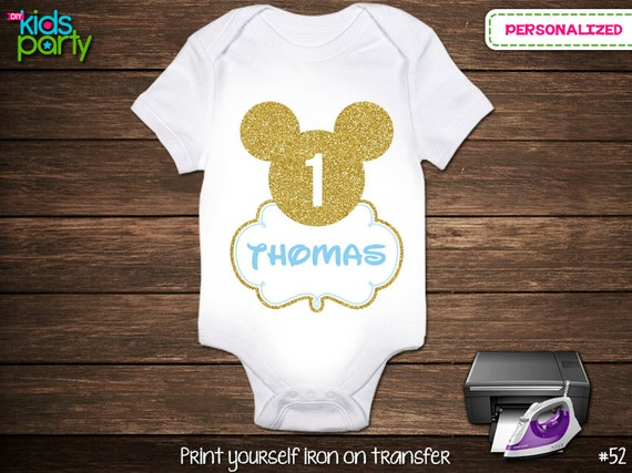Baby blue and gold mickey mouse print yourself iron on transfer by il570xn solutioingenieria Image collections