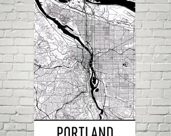 Portland Map, Portland Art, Portland OR, Portland Oregon Poster, Portland Wall Art, Map of Portland OR, Portland Gift, Portland Decor