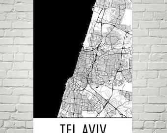 Tel Aviv Map, Tel Aviv Art, Tel Aviv Print, Tel Aviv Israel Poster, Tel Aviv Wall Art, Tel Aviv Gift, Map of Tel Aviv, Tel Aviv Decor, Art