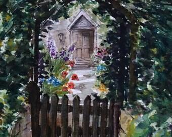 "SALE. Framed original watercolour painting/landscape/English cottage/cotswolds/""Through a gate"""