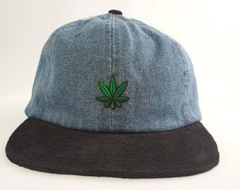 Pot Leaf Denim Hat