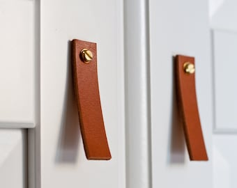Leather Drawer Pulls, Leather Door Handles, leather door pulls, Leather Knobs, Cupboard Handles, Leather Drawer Pulls, Leather knob pulls