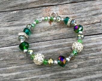 Green/Silver Beaded Bracelet
