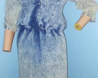80's Vintage acid washed denim dress