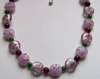 Unique stunning pink, red and green glass necklace