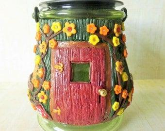 fairy jar, fairy house, miniature fairy house,miniatures house, miniatures, fairy door