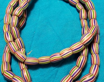 Antique Chevron Glass Trade Beads Strand 6