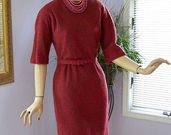 "AUDREY HEPBURN Vintage 50s Boucle Wiggle Dress ""Hot Pink"""