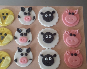 Cupcake Toppers Farm Animals Fondant Edible