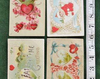 4 Turn of the Century Valentine Postcards