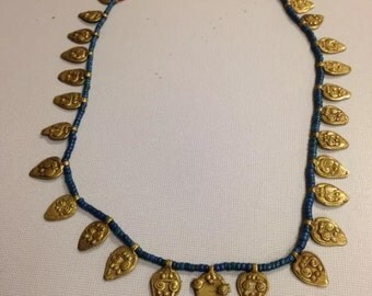 Vintage india blue bead charm necklace