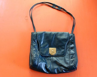 large blue leather shoulder bag . vintage leather purse, hobo bag . roomy 1970s boho purse . oversized purse