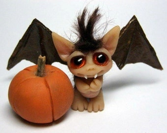 "OOAK Halloween Brown Bat boy Trollfling Troll Miniature Mini doll ""Alphonse"" by Amber Matthies"