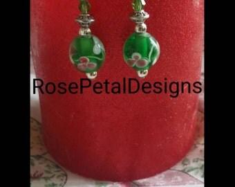 Green floral glass earrings