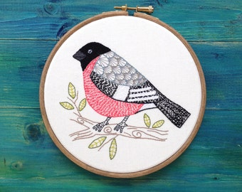 Hand Stiched Contemporary Embroidery, Bullfinch