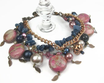 Chunky Pink And Navy Blue Bohemian Layered Charm Bracelet With Leaves