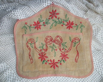 Vintage French Letter Holder ~ Hand embroidery on linen ~ Ribbons Swags c1910