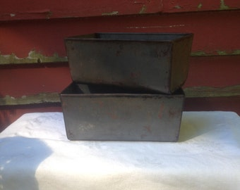 Steel Bread Loaf Pans Set Of Two 1940s WWII Steel Country Bakeware Classics From Maine Office Storage Meatloaf