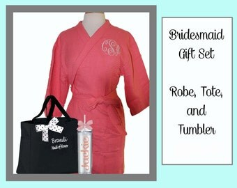 6 Getting Ready Robe Sets, Monogrammed Robe, Personalized Tote, and Tumbler, Team Bride, Bridesmaid Gift Set