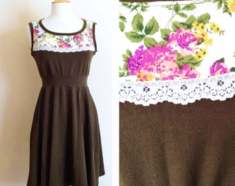 Olive Womens Dress Floral Yoke with Lace trim stretch Cotton sleeveless Full swing skirt summer party dress - Made to Order