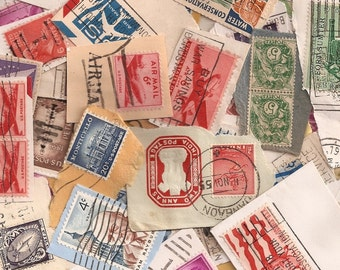Lot of 100 Pieces - Vintage Canceled Postage Stamps on paper