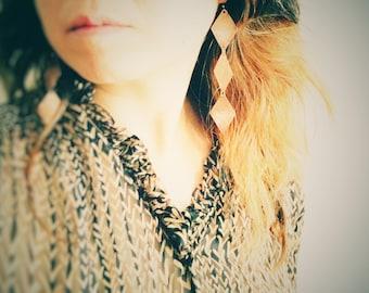 Diamonds Falling From the Sky/  Warrior Princess/ Bohemian Jewelry/ Copper Earrings