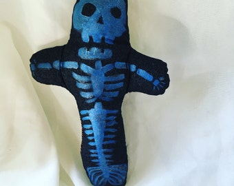 Blue Glittery Fiji Mermaid Calavera Doll