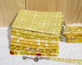 7 YELLOW WEDDING CLUTCHES gift pouches wedding bridal 2 pockets bridesmaids gift for her wristlet wallet