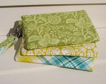 Wedding Clutch 2 pockets green,medium,cotton,discount plan, zipper wristlet gift for her