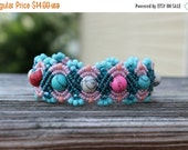 FLASH SALE Micro-Macrame Beaded Cuff Bracelet - Light Pink and Dark Teal