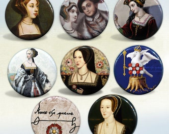 """Anne Boleyn """"The Most Happy"""" Queen of England Set of 8 pin back buttons or magnets"""