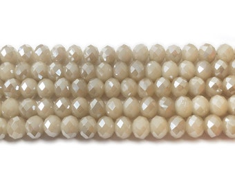 Khaki Brown Glass Faceted Rondelle Beads