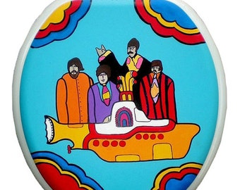 ELONGATED Yellow Submarine Hand Painted Toilet Seat Bathroom Remodel Beatles Dad Grad Gift