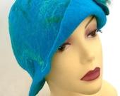 Merino wool felted blue hat women gifts brimmed hat