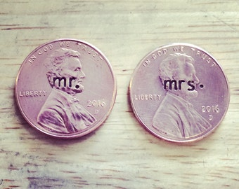 Hand Stamped Mr. And Mrs. 2016 Pennies