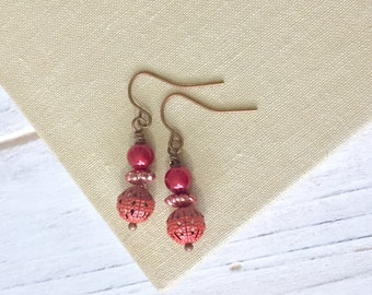 Orange Earrings, Autumn Earrings, Petite Beaded Earrings in Warm Fall Colors, Enameled Metal Beads Cranberry Pearls Copper, KreatedByKelly