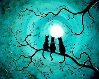 Three Black Cats Wall Art Teal Blue Full Moon Silhouette Fantasy Zen Fine Art Print Tree Branch Giclee Canvas or Paper Laura Milnor Iverson