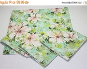 HALF OFF Fabric napkins, up cycled fabric napkins, green floral fabric napkins, vintage reclaimed fabric napkins, renewable resource napkins