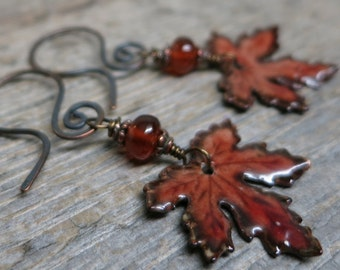 Autumn Maple Spell earrings ... enameled maple leaves / hessonite garnet / darkened hand forged copper earwires