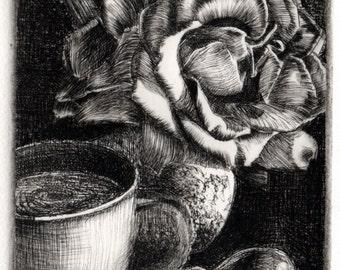 Still Life Roses Coffee Bird Art Printmaking Drypoint Engraving Etching DelPesco