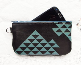 Leather Phone pouch Pencil Case Triangle Pyramid Print
