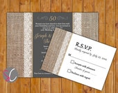 50th Golden Anniversary Invite Burlap and Lace Gold 50 Years Chalkboard Look Invitation RSVP Printable 5x7 Digital JPG (322)