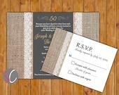 50e anniversaire or Invite toile de jute et dentelle or 50 ans tableau Look RSVP Invitation imprimable 5 x 7 numérique JPG (322)