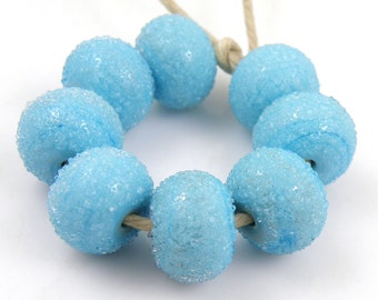Sugared Light Turquoise Blue - Handmade Artisan Lampwork Glass Beads 8mmx12mm - Turquoise, Blue - SRA (Set of 8 Beads)