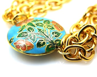 Gold Statement Necklace, Turquoise Statement Necklace, Cloisonné Necklace, Cloisonné Jewelry, Triple Strand Necklace, Blue Necklace,