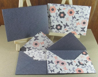 4 A7 Handmade envelopes in denim and cream butterfly patterns, coloured inside