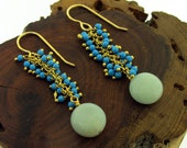 Turquoise Blue Beaded Fringe Earrings, gold tone blue bead and amazonite earrings by Kathryn Riechert