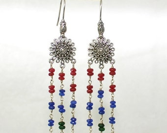 Red Blue Green Chandelier Earrings Southwest Style - Jade Earrings - Multicolor Dangles